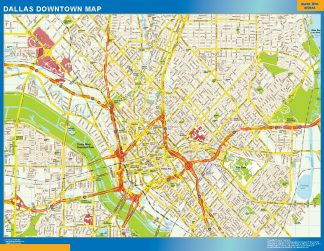 Mapa Dallas downtown enmarcado plastificado
