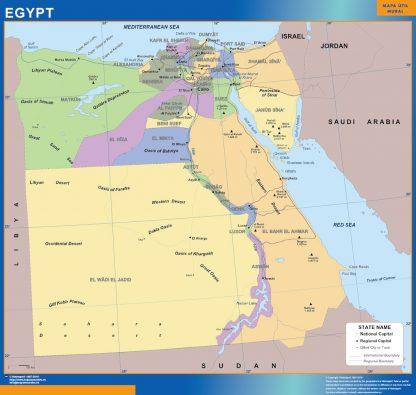 Mapa Egipto enmarcado plastificado