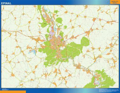 Mapa Epinal en Francia enmarcado plastificado