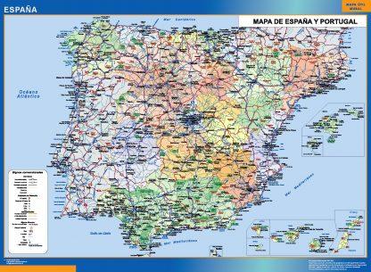 Mapa España simple enmarcado plastificado