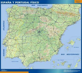 Mapa Espana Fisico enmarcado plastificado
