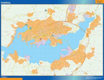Mapa Ferrol callejero enmarcado plastificado