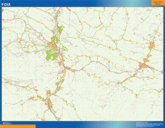 Mapa Foix en Francia enmarcado plastificado