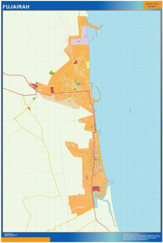 Mapa Fujairah enmarcado plastificado