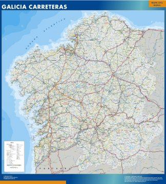Mapa Galicia carreteras enmarcado plastificado
