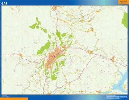 Mapa Gap en Francia enmarcado plastificado