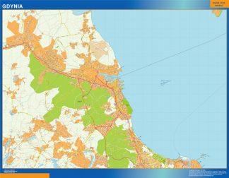 Mapa Gdynia Polonia enmarcado plastificado