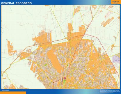 Mapa General Escobedo en Mexico enmarcado plastificado