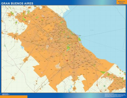 Mapa Gran Buenos Aires en Argentina enmarcado plastificado