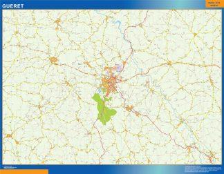 Mapa Gueret en Francia enmarcado plastificado