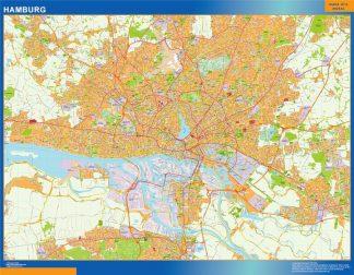 Mapa Hamburg en Alemania enmarcado plastificado