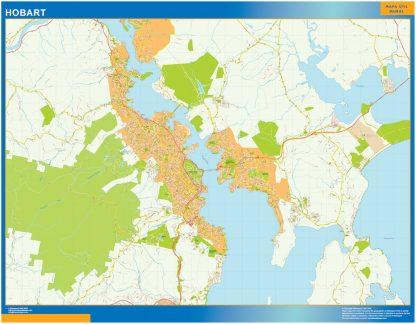 Mapa Hobart Australia enmarcado plastificado