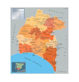 Mapa Huelva por municipios enmarcado plastificado