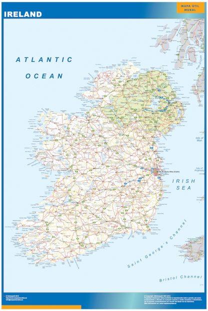 Mapa Irlanda enmarcado plastificado