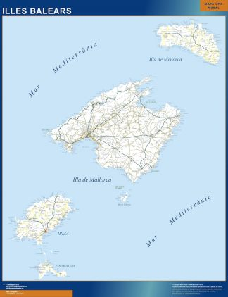 Mapa Islas Baleares carreteras enmarcado plastificado