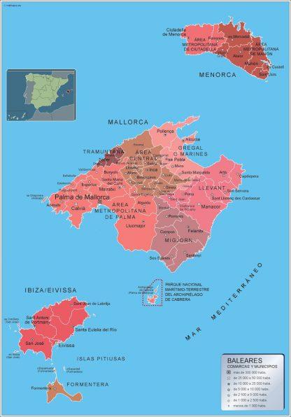 Mapa Islas Baleares por municipios enmarcado plastificado