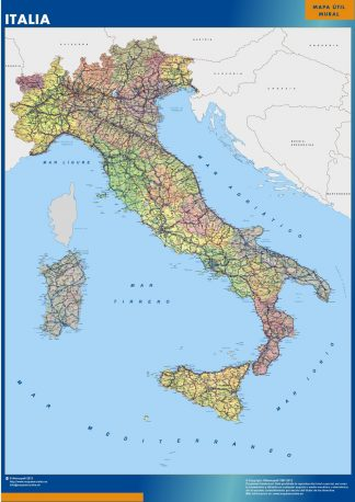 Mapa Italia enmarcado plastificado