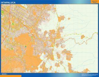 Mapa Ixtapaluca en Mexico enmarcado plastificado