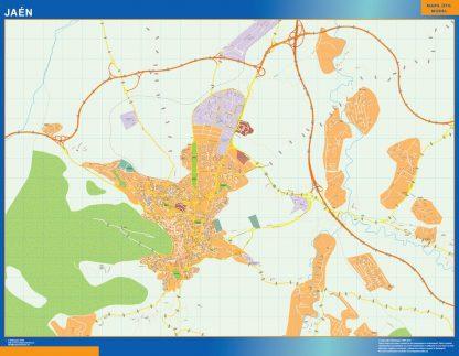 Mapa Jaen callejero enmarcado plastificado