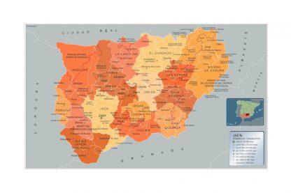Mapa Jaen por municipios enmarcado plastificado