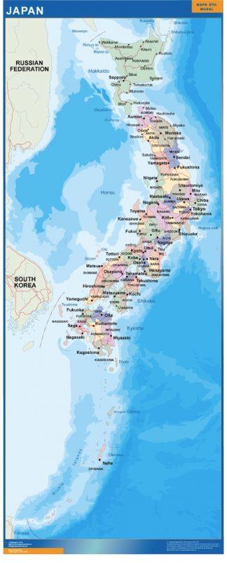 Mapa Japon enmarcado plastificado