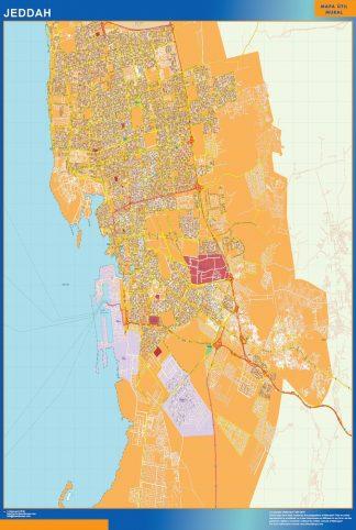 Mapa Jeddah en Arabia Saudita enmarcado plastificado