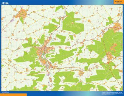 Mapa Jena en Alemania enmarcado plastificado