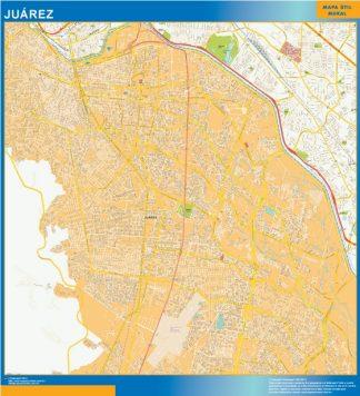 Mapa Juarez Centro en Mexico enmarcado plastificado