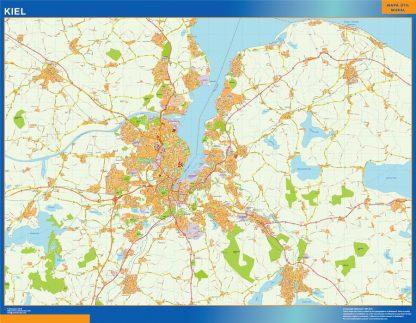 Mapa Kiel en Alemania enmarcado plastificado