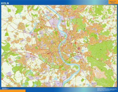Mapa Koln en Alemania enmarcado plastificado