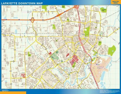 Mapa Lafayette downtown enmarcado plastificado