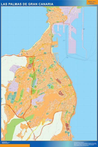Mapa Las Palmas De Gran Canaria callejero enmarcado plastificado
