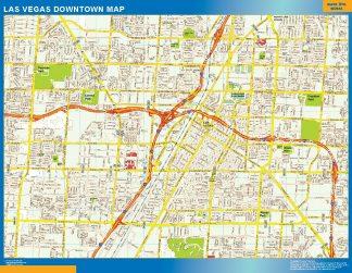 Mapa Las Vegas downtown enmarcado plastificado