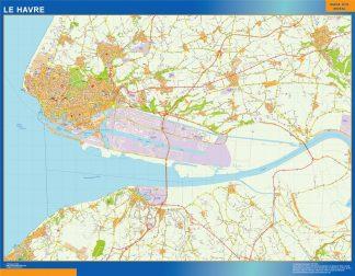 Mapa Le Havre en Francia enmarcado plastificado