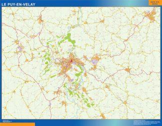 Mapa Le Puy en Francia enmarcado plastificado