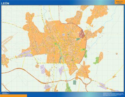 Mapa Leon callejero enmarcado plastificado