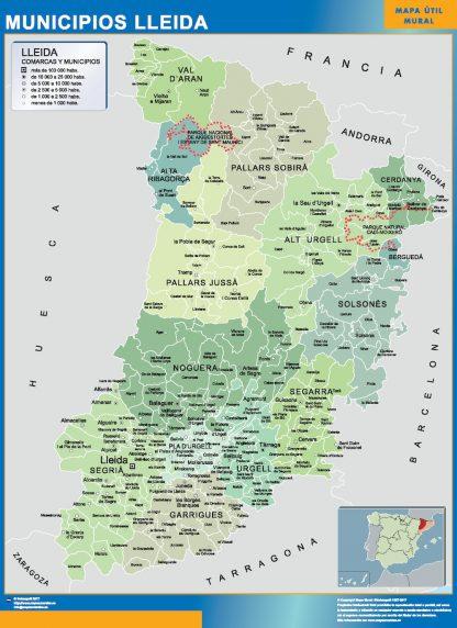 Mapa Lerida por municipios enmarcado plastificado