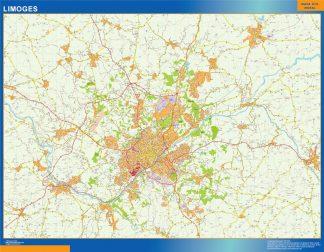 Mapa Limoges en Francia enmarcado plastificado