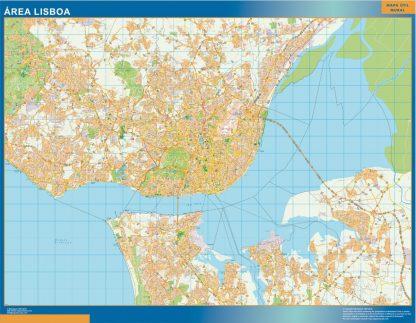 Mapa Lisboa área urbana enmarcado plastificado