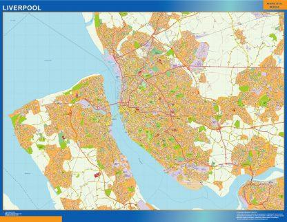 Mapa Liverpool enmarcado plastificado