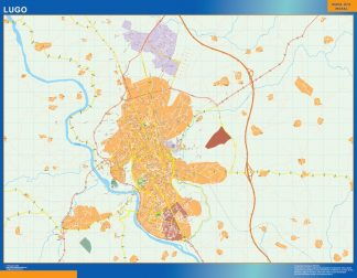 Mapa Lugo callejero enmarcado plastificado
