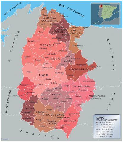 Mapa Lugo por municipios enmarcado plastificado