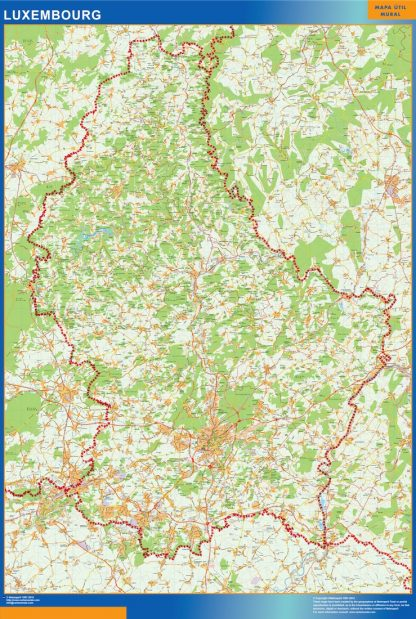 Mapa Luxemburgo enmarcado plastificado