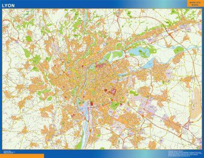 Mapa Lyon en Francia enmarcado plastificado