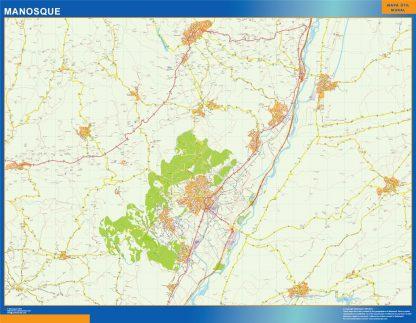 Mapa Manosque en Francia enmarcado plastificado