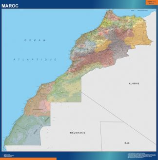 Mapa Marruecos enmarcado plastificado