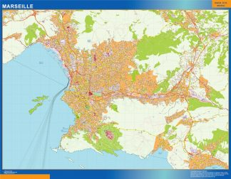 Mapa Marseille en Francia enmarcado plastificado