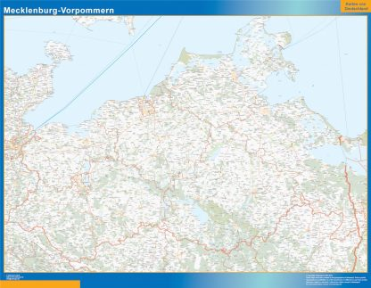 Mapa Mecklenburg-Vorpommern enmarcado plastificado