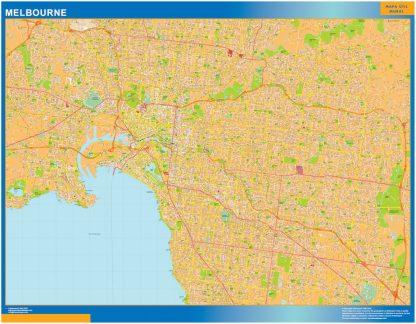 Mapa Melbourne Australia enmarcado plastificado