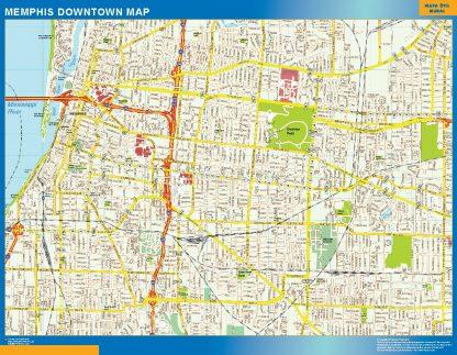 Mapa Memphis downtown enmarcado plastificado
